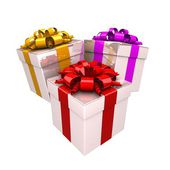 Gift boxes, with a colorful ribbon like a present. — Stock Photo