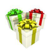 Geschenk-boxen mit einem bunten band wie ein geschenk. — Stockfoto