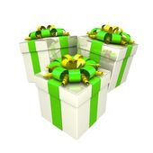 Dárkové krabičky s barevnými pásky jako dárek. — Stock fotografie