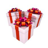 Gift boxes, with a colorful ribbon like a present. — Photo