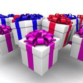 Gift boxes, with a colorful ribbon like a present — Stock Photo