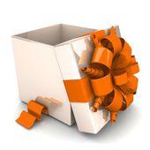 Geöffnete geschenk-box, mit einem band wie ein geschenk.. — Stockfoto