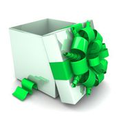 Opened gift box, with a green ribbon like a present. — Foto de Stock
