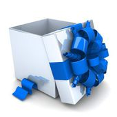 White gift box opened with striped ribbons of blue. — Foto de Stock