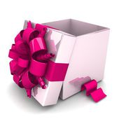 Opened gift box, with a pink ribbon like a present — Zdjęcie stockowe