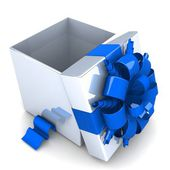 White gift box opened with striped ribbons of blue. — Stok fotoğraf
