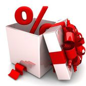 Percent discount for free! opened gift box, with a red ribbon — Foto de Stock