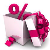 Percent discount for free! opened gift box, with a pink ribbon — Stock Photo