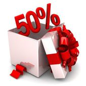50 percent discount for free! opened gift box, with a red ribbon — Stockfoto