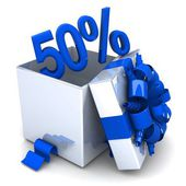 50 percent discount for free! opened gift box, with a blue ribbon — Stockfoto