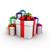 Dárkové krabičky s barevnou stuhou — Stock fotografie
