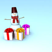 3d Snowman with beautiful gifts. — Photo
