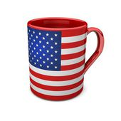 Red cup with flag USA — Stock Photo