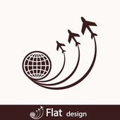 Globe Icon with airplanes — Stock Photo