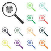 Earth with magnifying glass icons — Stock Photo