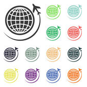 Globe with airplane icons — Stock Photo