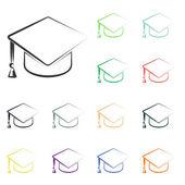 Graduation cap icons — Foto de Stock