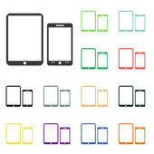 Tablet PC with mobile smartphone icons — Foto de Stock