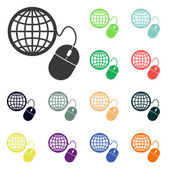 Global management, computer mouse icons — Stock Photo