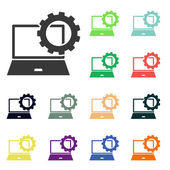 Setting parameters, laptop icons — Stock Photo