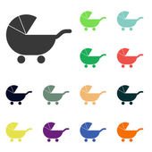 Baby carriage icons — Stock Photo