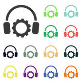 Setting parameters and headphones icons — Stock Photo