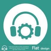 Flat Icon of Headphones — Stock Photo