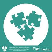 Green puzzle pieces icon — Foto de Stock