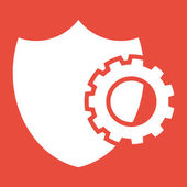Shield security icon with gear — Stock Photo