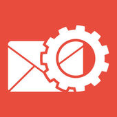 Mail icon with gear — Stock Photo