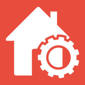 House and gear icon — Stock Photo