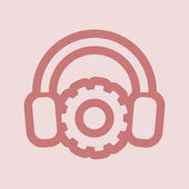 Headphone icon with gear — Stock Photo