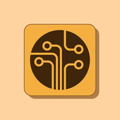 Circuit board, technology icon — Stock Photo