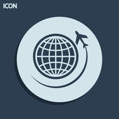Globe with airplane icon — Stock Photo