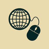 Global management, computer mouse icon — Stock Photo