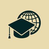 Graduation cap and globe icon — Stockfoto