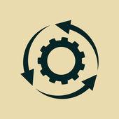 Gear icon with rotating arrows — Stock Photo