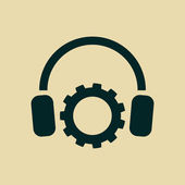 Setting parameters and musical, headphones icon — Stock Photo