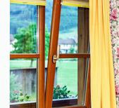 New laminated brown window inside view — Stock Photo