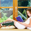 Cute teenage girl siiting on window siil — Stock Photo #48948689