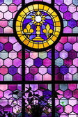 Leaded glass pane in old church — Stock Photo