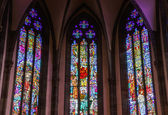 Majestic gothic cathedral interior. — Stock Photo