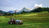 Agrimotor on the field in Austria — Stock Photo