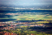 Panoramic bird fly view to Alsace — Stock Photo