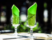 Wineglasses and napkins — Stock Photo