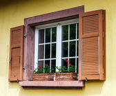 Renovated pvc windows in old village house — Stock Photo