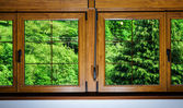 Laminated PVC windows in villagr house — Stock Photo