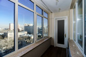 View to the city through new windows — Stock Photo