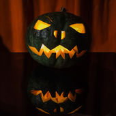 Green halloween pumpkin — Stock Photo