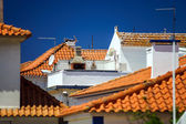 Contrast and colorful tile roofs view — Photo